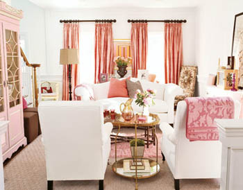 pink living room via country living