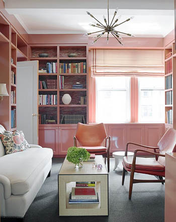 pink lacquered sitting room via house beautiful